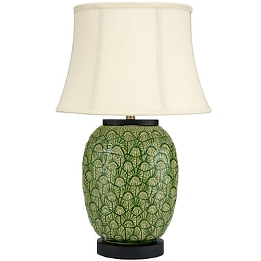 Oriental Furniture Feather Design 25.5'' Table Lamp