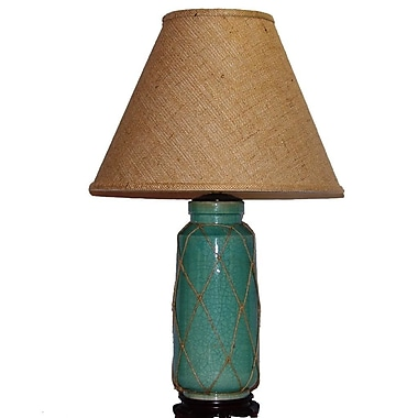 Lamp Factory Crackle 27'' H Table Lamp with Empire Shade; Blue