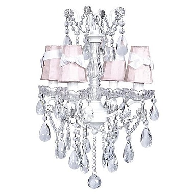 Jubilee Collection Center 4-Light Shaded Chandelier; Pink with White Sash