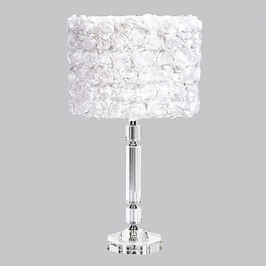 Jubilee Collection Slender Crystal 26'' Table Lamp; White