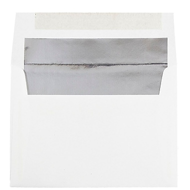 JAM Paper® A7 Foil Lined Envelopes, 5.25 x 7.25, White with Silver Lining, 100/Pack (3243671g)