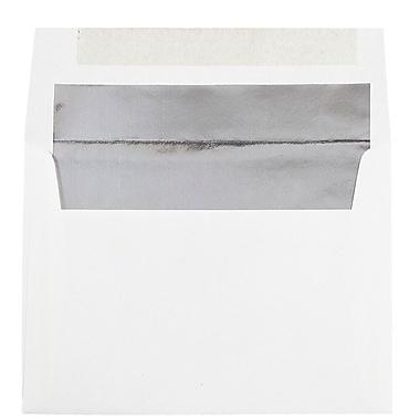 JAM PaperMD – Enveloppes avec fini métallique et fermeture gommée, 5 1/4 x 7 1/4 po, blanc avec intérieur argenté, paq./100