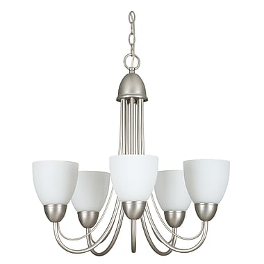 Sunset Lighting Tempest 5-Light Shaded Chandelier; Satin Nickel