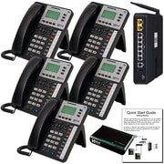 """Xblue® X50 """"Self-Install"""" VoIP Telephone System Bundle, 5-Pack, Charcoal"""