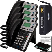 """Xblue® X25 """"Self-Install"""" VoIP Telephone System Bundle, 4-Pack, Charcoal"""