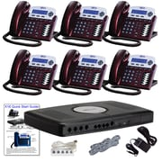 X16 Office Telephone System with (6) Red Mahogany Phones (XB1606RM)