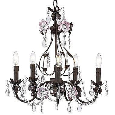 Jubilee Collection Flower Garden 5-Light Crystal Chandelier; Pink/Mocha