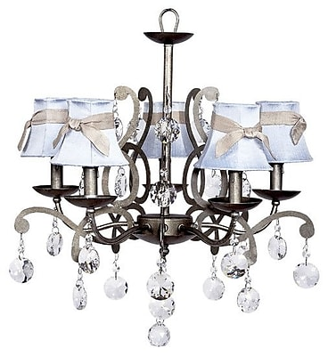 Jubilee Collection Elegance 5-Light Shaded Chandelier; Pink with White Sash and Light Pink Flowers