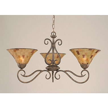 Toltec Lighting Olde Iron 3-Light Shaded Chandelier