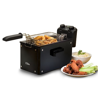 Elite by Maxi-Matic Platinum 3.31 Liter Immersion Deep Fryer w/ Timer; Black