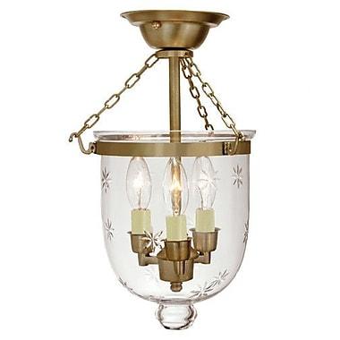 JVI Designs 3-Light Small Bell Jar Semi Flush Mount w/ Star Glass; Rubbed brass