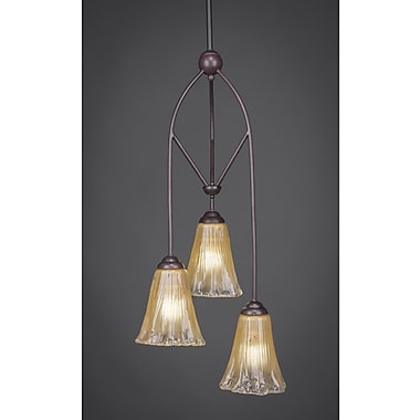 Toltec Lighting Contempo 3-Light Multi Mini Pendant w/ Hang Straight Swivel; Italian Ice Glass
