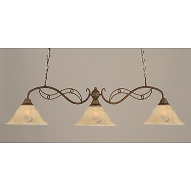 Toltec Lighting Jazz 3-Light Kitchen Island Pendant; Bronze