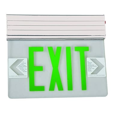 Morris Products Surface Mount Edge Lit LED Exit Sign w/ Green on Clear Panel and White Housing