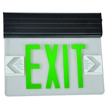 Morris Products Surface Mount Edge Lit LED Exit Sign w/ Green on Clear Panel and Black Housing