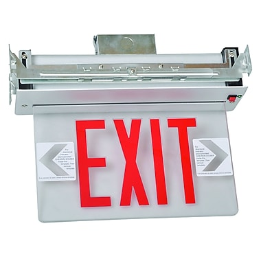 Morris Products Recessed Mount Edge Lit LED Exit Sign w/ Red on Clear Panel and Aluminum Housing