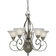 Forte Lighting 5-Light Shaded Chandelier; Brushed Nickel and River Rock / White Linen