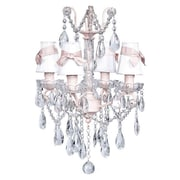 Jubilee Collection Center 4-Light Shaded Chandelier; White with Pink Sash
