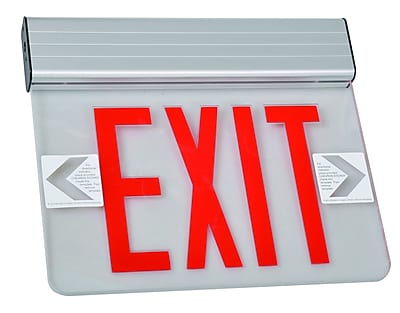 Morris Products Surface Mount Edge Lit LED Exit Sign w/ Red on Clear Panel and Aluminum Housing
