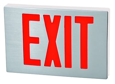 Morris Products Cast Aluminum LED Exit Sign w/ Red Lettering, Aluminum Housing and White Face