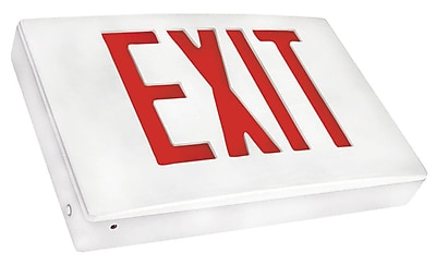 Morris Products Cast Aluminum LED Exit Sign w/ Red Lettering, White Housing and White Face