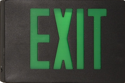 Morris Products Cast Aluminum LED Exit Sign w/ Green Lettering, Black Housing and Black Face
