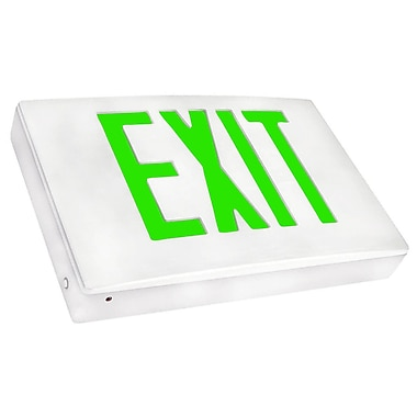 Morris Products Cast Aluminum LED Exit Sign w/ Green Lettering, White Housing and White Face