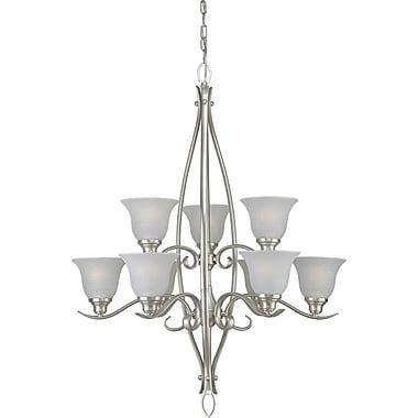 Forte Lighting 9-Light Shaded Chandelier; Brushed Nickel / White Linen