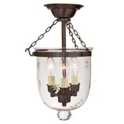 JVI Designs 3-Light Small Bell Jar Semi Flush Mount w/ Star Glass; Oil Rubbed Bronze