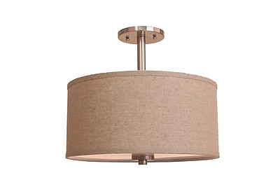 Woodbridge 3-Light Semi-Flush Mount; Beige