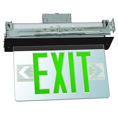 Morris Products Recessed Mount Edge Lit LED Exit Sign w/ Green on Clear Panel and Black Housing