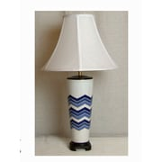 Lamp Factory Flamestitch 27'' Table Lamp; Blue and White