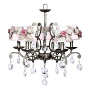 Jubilee Collection Elegance 5-Light Shaded Chandelier; Pink with White Sash and Pink Flowers