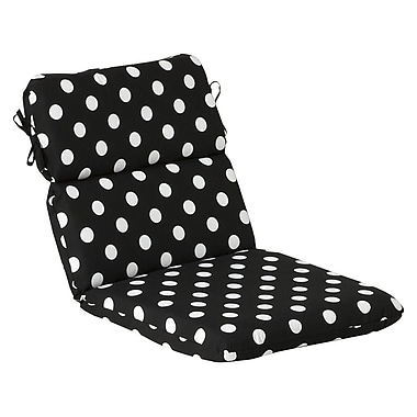 Pillow Perfect Outdoor Lounge Chair Cushion; Black/White Polka Dot
