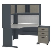 "Bush Business Furniture Cubix 62""W x 48""D Corner Desk with Hutch and 3Drawer Mobile Pedestal, Slate/White Spectrum (SRA040SLSU)"