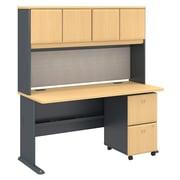 Bush – Bureau Cubix 60 larg. x 27 prof. (po) avec étagère et caisson mobile à 2 tiroirs, hêtre européen/ardoise (SRA039BESU)