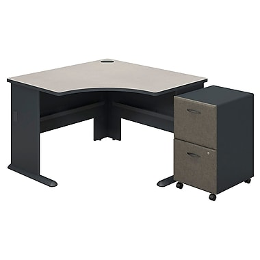 Bush Cubix Corner Desk with 2 Drawer Mobile Pedestal, White Spectrum/Slate (SRA036SLSU)