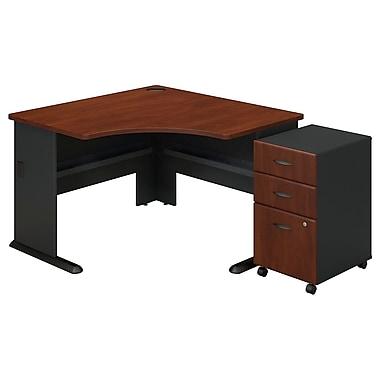 Bush Cubix Corner Desk with 3 Drawer Mobile Pedestal, Hansen Cherry/Galaxy (SRA035HCSU)