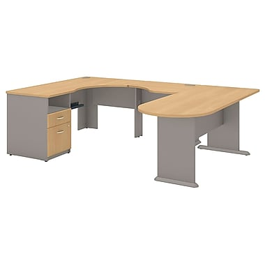 Bush Cubix Expandable Corner Desk U-Station, Danish Oak/Sage (SRA037LO)
