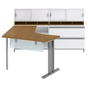 "Bush Momentum Right-Handed L-Desk with Glass Panels, Storage, (2) 36""W Hutches and Lateral File, Modern Cherry (MOM086RMC)"