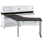 "Bush Momentum Right-Handed L-Desk with Glass Panels, Storage, (2) 36""W Hutches and Lateral File, Mocha Cherry (MOM086RMR)"