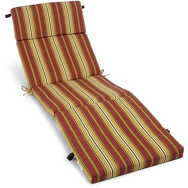 Blazing Needles Outdoor Chaise Lounge Cushion; Kingsley Stripe Ruby