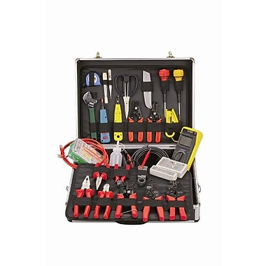 HV Tools - Trousse d'outils professionnelle, avec serrure, 3 x 15 x 10 po, noir