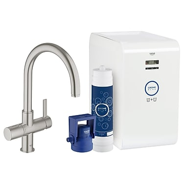 Grohe Single Handle High Spout Water System Sink Faucet; Super Steel