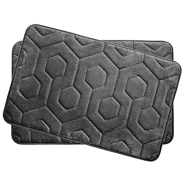 Bath Studio Hexagon Small Plush Memory Foam Bath Mat (Set of 2); Dark Grey