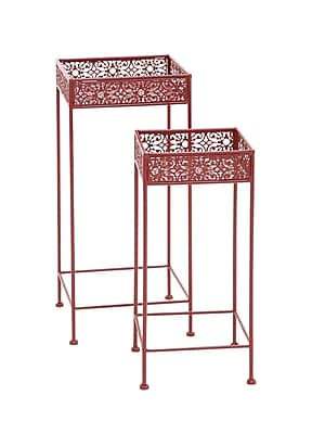 Woodland Imports 2 Piece Plant Stand Set; Red
