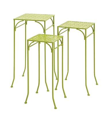 Woodland Imports 3 Piece Metal Plant Stand Set; Light Green