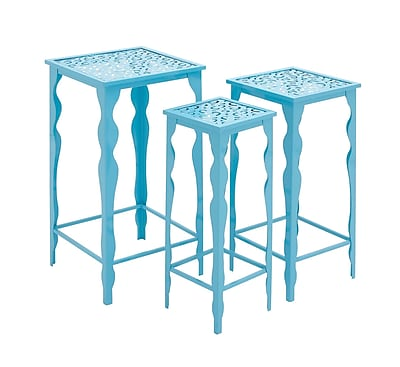 Woodland Imports 3 Piece The Metal Plant Stand Set; Blue