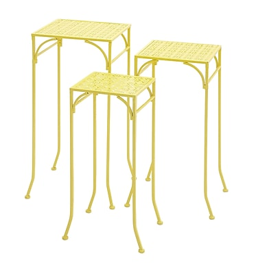 Woodland Imports 3 Piece Metal Plant Stand Set; Yellow