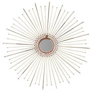 Woodland Imports Round Stroked Metal Fancy Leaf Wall Mirror